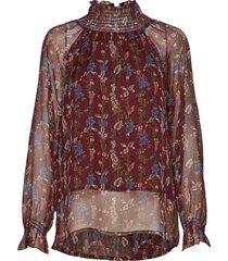 theresa flower blouse lange mouwen rood line of oslo
