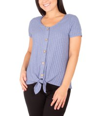 ny collection textured tie-hem blouse
