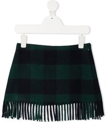 il gufo plaid fringed skirt - blue