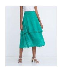 saia longa em tecido bordado com camada sobreposta | cortelle | verde | p
