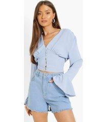 matte satijnen blouse met knopen, powder blue