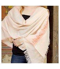 wool shawl, 'rose garland' (india)