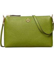 tory burch kira pebbled leather wallet crossbody bag - green