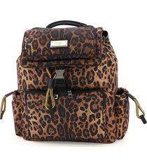 dolce & gabbana sicily leo-print nylon backpack