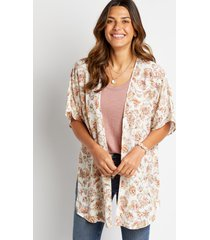 maurices womens white floral side slit kimono