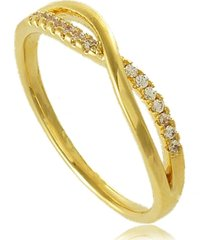anel entrelaçado com mini zircônias 3rs semijoias dourado