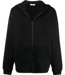 valentino logo floral lace hoodie