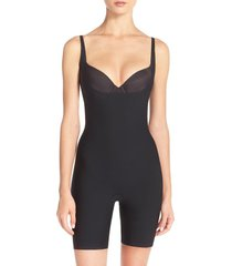 women's spanx thinstincts open bust mid thigh bodysuit, size x-small - black