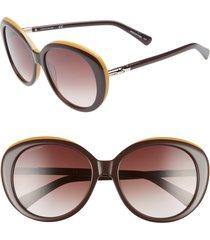 longchamp 57mm gradient oval sunglasses in wine/ochre at nordstrom