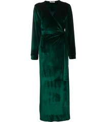 gilda & pearl long-length belted robe - green