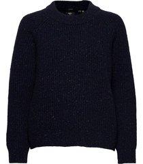 freya tweed crew stickad tröja blå superdry