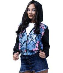 chaqueta estampada flores para mujer - saramanta classic-azul