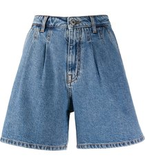 msgm high-rise pleated a-line denim shorts - blue