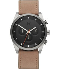 mvmt men's chronograph element graphite sand leather strap watch 44mm