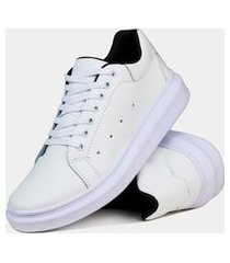 sapatênis casual em couro estilo pleno sp193 branco