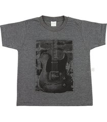 camiseta ano zero malha vintage silk guitarra grafite - grafite - menino - dafiti