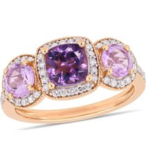 amethyst (7/8 ct. t.w.) and diamond (1/3 ct.t.w.) 3-stone halo ring in sterling silver (also available in blue topaz)