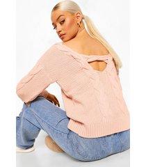 grof gebreide trui met v-rug uitsnijding, light pink