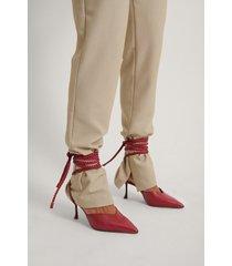 na-kd shoes stilettpumps med snörning och lutande klack - red