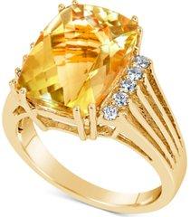citrine (7 ct. t.w.) & diamond (1/5 ct. t.w.) ring in 14k gold