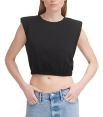 calvin klein jeans cropped shoulder-pad tank top