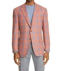 men's canali siena soft classic fit plaid linen & wool sport coat, size 42 us - orange