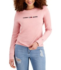 tommy jeans cotton long-sleeve logo-graphic t-shirt