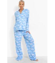 zwangerschap wolkenprint pyjama set met broek, blue