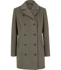 giacca lunga in simil lana stile trench (verde) - bpc bonprix collection