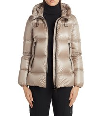 women's moncler serite hooded quilted down puffer jacket, size 00 (fits like 00-0 us) - beige