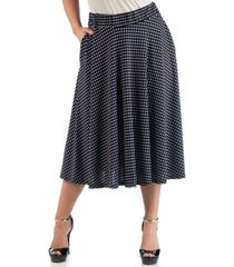 24seven comfort apparel women's plus size polka dot midi skirt