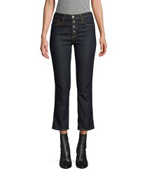 high-rise button crop jeans