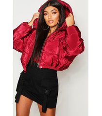 crop hooded puffer jacket, wine