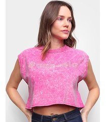 camiseta colcci cropped # cancela feminina - feminino