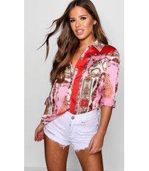 petite printed satin shirt, pink