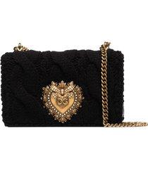 dolce & gabbana knit-effect devotion shoulder bag - black