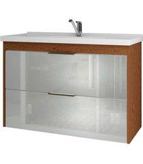 gabinete suspenso para banheiro lavanda 56x79,3cm amêndoa e branco