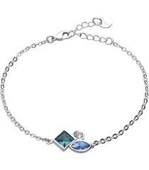 bracciale con pietre sui toni dell'azzurro in metallo rodiato per donna