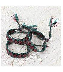 cotton wristband bracelets, 'maroon friendship geometry' (set of 3) (mexico)