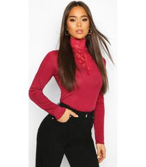 lace high neck ribbed long sleeve top, wine