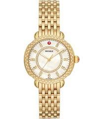 women's michele sidney classic diamond watch head & bracelet, 33mm