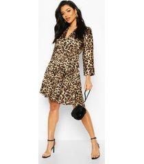 leopard print pleated skater dress, brown