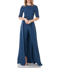 women's kay unger sasha belted maxi romper, size 14 - blue