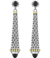women's lagos signature caviar stone cap drop earrings