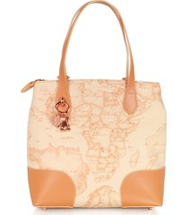 alviero martini 1a classe designer handbags, geo pesca coated canvas & leather backpack