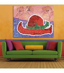 1 pcs red hat by yayoi kusama wall picture canvas painting 22x28inch