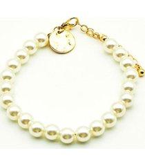 pulsera perlas basic blanco i-d