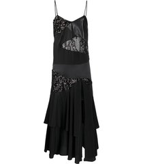 almaz patchwork ruffled cami dress - black