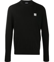 diesel logo patch pullover jumper - black