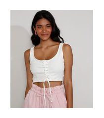 top cropped feminino corset com lace up alça larga decote reto off white